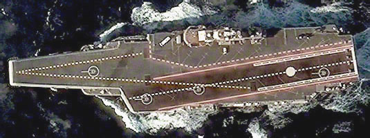 QuickBird image (60cm resolution, 08.12.2011), Liaoning (Varyag), Yellow Sea, © 2011 DigitalGlobe - The first Chinese aircraft carrier Liaoning spotted in the middle of the Yellow Sea during its second trial. This ship is built upon the unfinished former Soviet ship known as the Varyag.