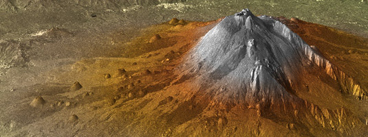 TerraSAR-X and TanDEM-X Formation data (resolution 12m, 19.10.2010), Mount Etna, Italy, © DLR - The TerraSAR-X and TanDEM-X Formation has recorded its first synchronous data pair while flying across the Italian Mount Etna. Based on this dataset, the 3D elevation model was created.
