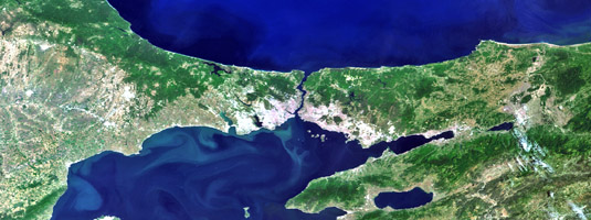 ENVISAT / MERIS image (resolution 300 m, 09.06.2011), Bosphorus strait, Turkey, © 2011 ESA - Europa and Asia, two continents almost touching at Bosphorus. The city Istanbul  is straddling the Bosphorus strait. This strait is the world's narrowest strait used for international navigation.