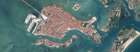 "Landsat-8 image (resolution 15 m, 4.9.2013), Venice, Italy, © 2013 USGS, NASA - In the fifth century people moved to the island of Rialto for safety from mainland invaders and they have founded there the famous ""floating city"" of Venice, which is now one of  World Heritage Sites."