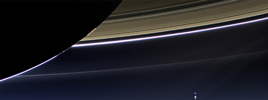 Cassini orbiter image (19.7.2013), Earth from Saturn, © NASA/JPL-Caltech/Space Science Institute - Cassini space probe has studied the Saturn system since arriving there in 2004. In this rare image the dark side of Saturn, the rings and moreover Earth at a distance of 1.44 bilion km are captured.