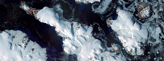 TERRA / ASTER image (30m resolution, 19.08. 2011), Franz Josef Land, Russia © 2011 NASA - Image of Franz Josef Land made from a combination of visible and infrared wavelengths. The Land consists of 191 ice-covered islands and it is the northernmost Eurasian archipelago.