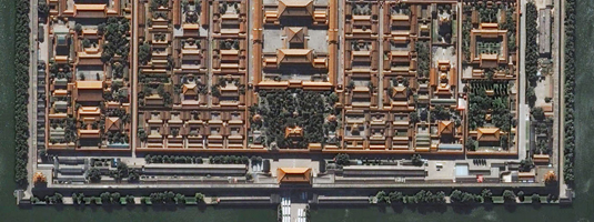 QuickBird image (resolution 60cm, 1.10.2009), Beijing, China, Copyright © 2009 DigitalGlobe - The Chinese imperial palace in Beijing. For five centuries it served as the home of the Emperors.
